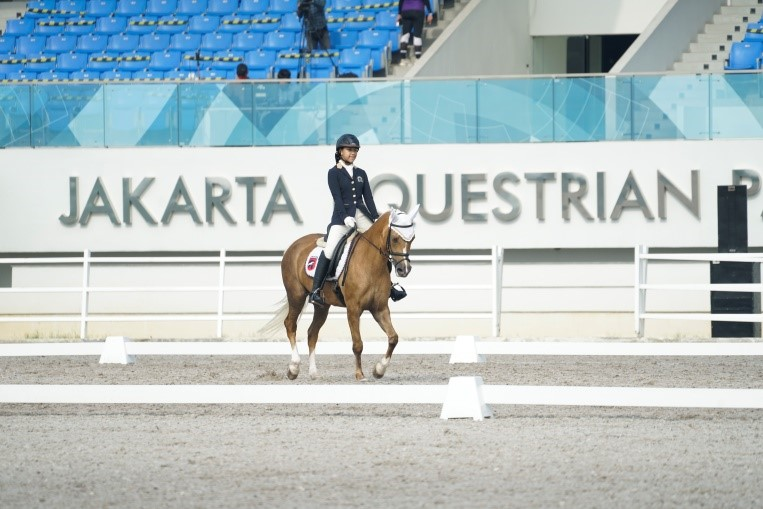 Young athlete of Equinara Horse Sports, Aleeya Herlambang with Milady, when competing in Dressage Preliminary German Test U-14 class on event of Equestrian Champions League Series - 6